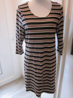 Kleid Gestreift 3/4 Arm braun schwarz weiss Gr M