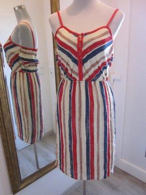Kleid Gestreift Spagettiträger Creme blau rot Gr S