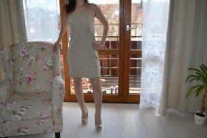 Kleid gold nude Schimmer trägerlos