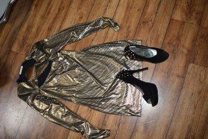 Vestido de noche negro-color bronce