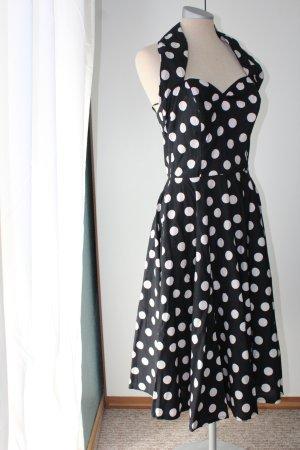 Kleid Gr. 14 Gr. 42 M L schwarz weiße Punkte Rockabilly Neckholder Midikleid