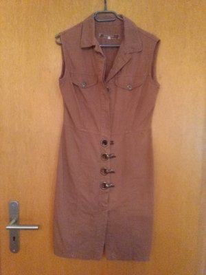 Robe en jean marron clair coton
