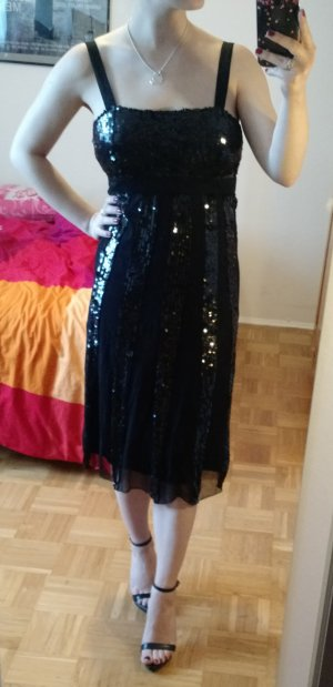Kleid Gr. 36 S Pailletten Abendkleid Cocktail schwarz Seide Seidenkleid Caroll