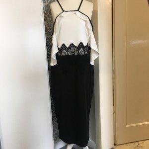 Vestido strapless negro-crema