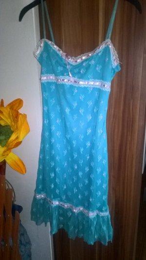 Pinafore dress light blue-neon pink polyester