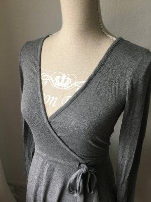 Kleid grau anthrazit Gr. XS 34 Viskose Wickelkleid langarm