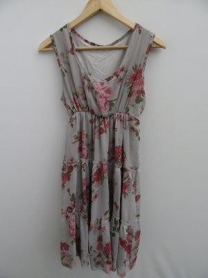 Kleid grau Damen Blumen Gr. M
