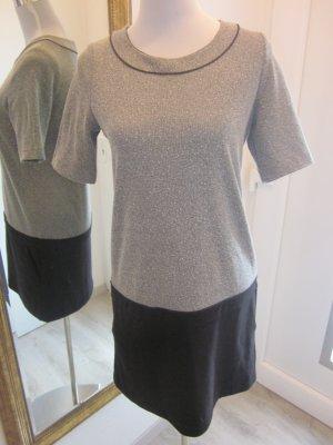 Kleid Grau Schwarz Klassisch Gr 38