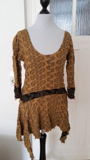 Fringed Dress sand brown-dark yellow