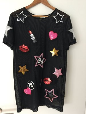 Kleid H&M Divided schwarz transparent Paillettenverzierung S neu!!!