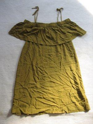 kleid h&m sommerkleid schulterfrei neu gr. s 36 olivgruen