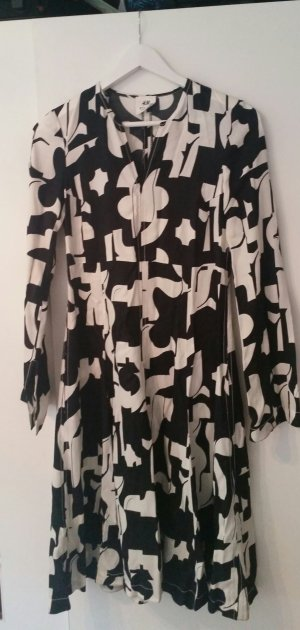 H&M Studio Robe de cocktail blanc-noir viscose