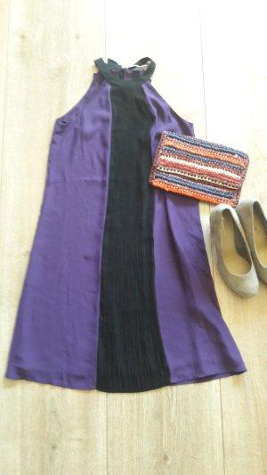 Kleid H&m XS lila schwarz Plisee