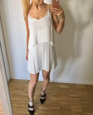 Kleid Häkel Weiß Spitze Lagen Volants Rückenfrei ibiza