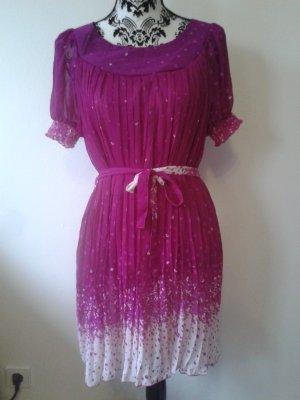 Kleid * Hängerchen * pink-weiß * Bindegürtel * NEU