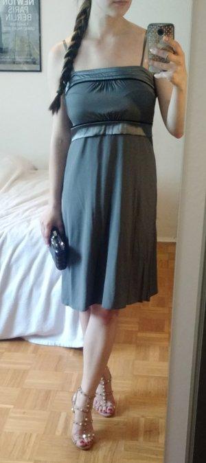 Kleid Hallhuber Gr. 38 M grau Etui Etuikleid silk luxus Seidenkleid elegant lady