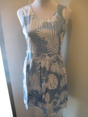 Kleid hellblau Palmen Cut Outs Jeans Gr. 38