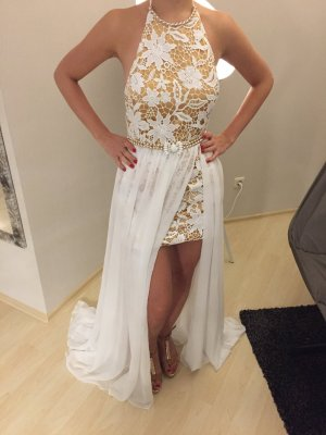 Kleid, Hochzeitskleid, Strandkleid, weiß Gold, XS/S