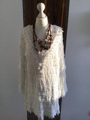 Vestido Hippie blanco tejido mezclado