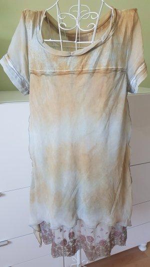 Kleid im Batikstil mit Spitze und eingenähtem Unterkleid Gr. 40