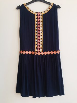 Zara Mini vestido rosa neón-azul oscuro
