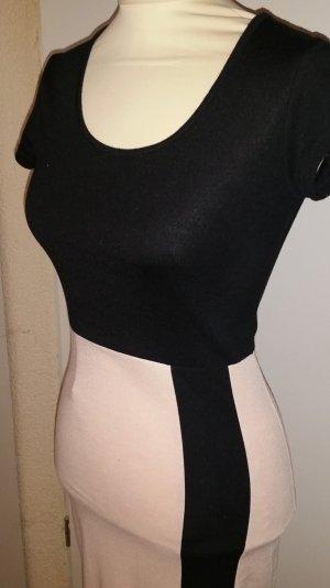 Vestido elástico negro-crema Viscosa