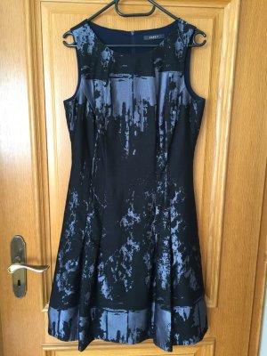 Kleid in A-Linie mit Faltenrock, Farbe: Schwarz-Blaugrau, Größe: 38