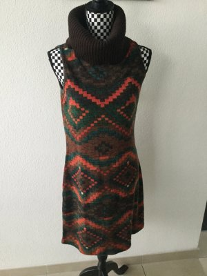 Kleid in braun Tönen von Lavand. in Gr. L mit dickem Kragen, ärmellos 40 (42)