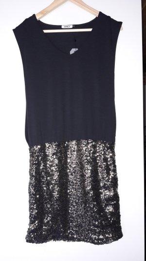 Kleid in schwarz mit goldenen Paietten