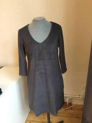 Kleid in Veloursleder-Optik Anthrazit