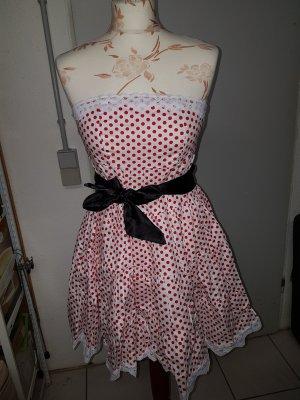 Kleid in weiß mit süßen Pünktchen Rockabella Rockabilly und schwarzem Band