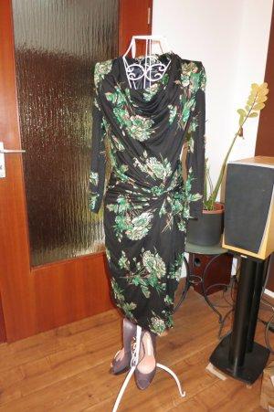 Kleid in Wickeloptik mit Wasserfallausschnitt Gr M von Mango