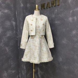 Kleid + Jacke High Fashion Zweiteiler Twin Set aus Tweed Gr. M