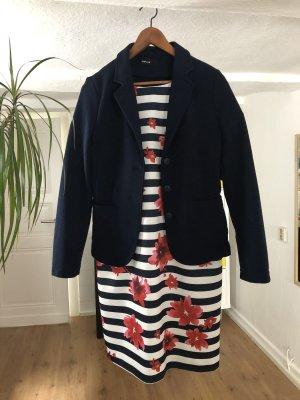 Zero Vestido de manga corta azul oscuro-blanco