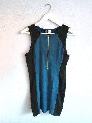 Kleid Jeansblau Schwarz Reißverschluss Silber H&M Gr. M
