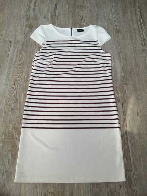 Kleid Jerseykleid Vila S Minikleid weiß Creme bordeaux rot gestreift