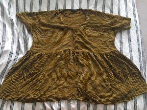 Zara Abito blusa camicia nero-giallo-oro