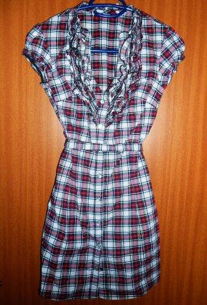 Kleid Karo Longbluse Tally Weijl Blusenkleid Volants schwarz rot weiß Gr. 34 32 XS