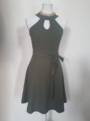 Zara Cut out jurk olijfgroen-khaki