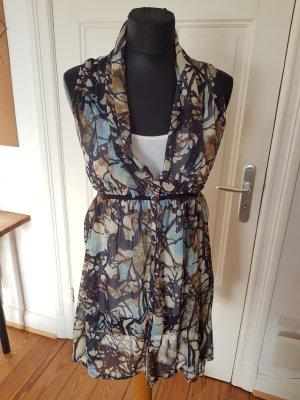 Kleid Kleidbluse Blusenkleid Tailliert Bindegurt