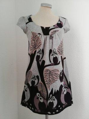 Kleid knielang kurz grau Eulen Gr. 36 S neu