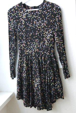 Kleid Konfetti Gepunktet Schwarz Bunt Harlekin XS 34