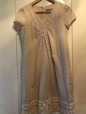 Kleid Kookai 36 beige rosa Spitze/ Häkel