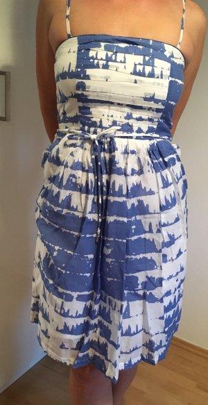 Kookai Vestido strapless blanco-azul celeste