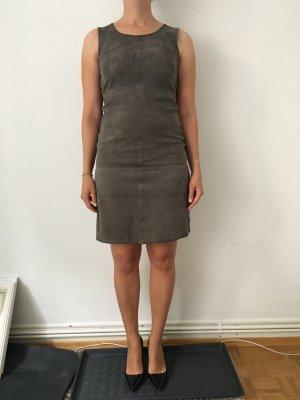 More & More Leren jurk donkergrijs
