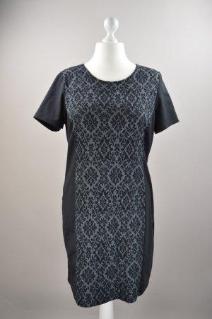 Kleid kurzärmlig mit Muster schwarz Größe 46