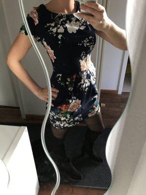 Kleid kurzarm, Gr. 36 (S), floraler Print, blau