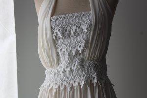 Kleid lang Maxikleid bodenlang creme wollweiß Spitze Neckholderkleid Gr. 38 S M Sommerkleid hippie