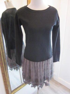 Kleid Langarm Schwarz Taupe  Gr S