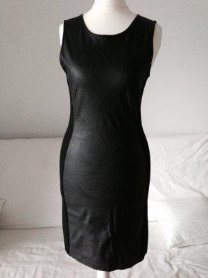 Kleid Leder-Stoffoptik Gr. 34-36 schwarz